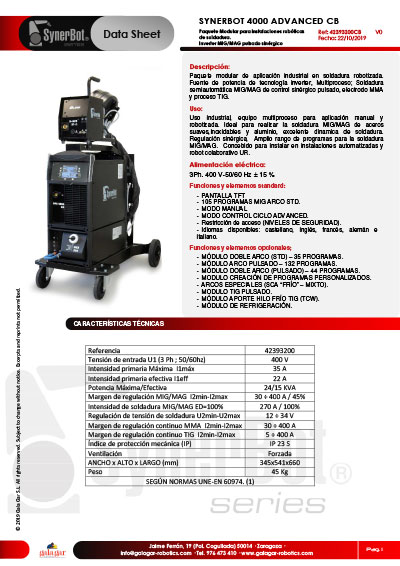 FICHA SYNERBOT 4000 DR ADVANCED