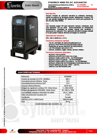 Catálogo SYNERBOT 4000 TIG DC ADVANCED