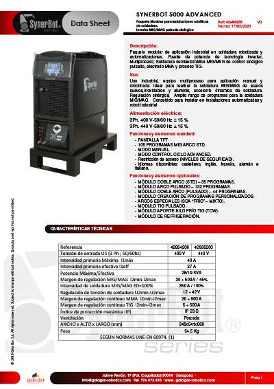 Catálogo SYNERBOT 5000 ADVANCED