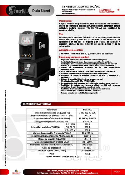 Catálogo SYNERBOT 3200 TIG AC/DC
